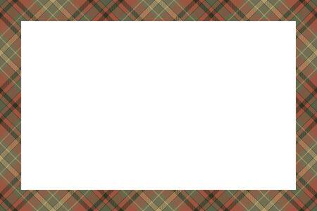 Estilo retro del patrón de la frontera escocesa. Fondo vacío de belleza, plantilla para retrato, álbum. Ilustración de vector