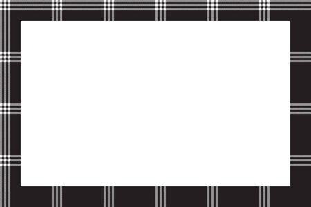 Rectangle frame vintage pattern design template. Border designs plaid fabric texture. Scottish  background for collage art, gif card, handmade crafts. Ilustrace