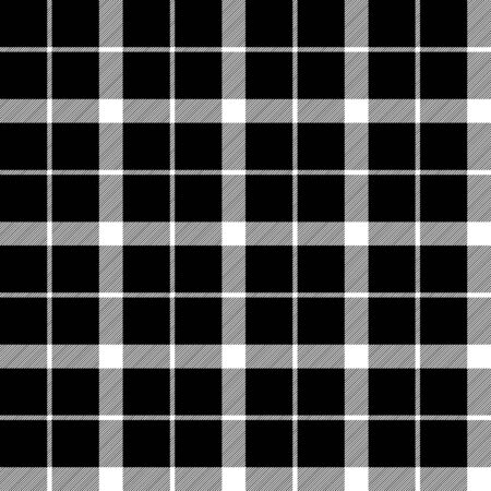 Black white classic tartan seamless fabric texture. Vector illustration.