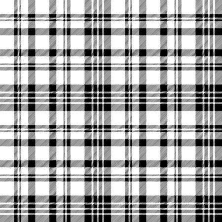 Diagonal black white check plaid seamless pattern. Vector illustration.