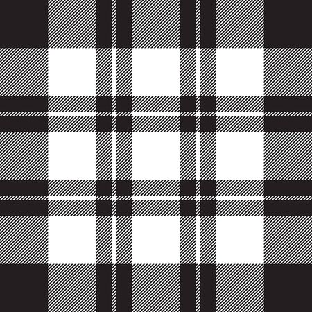 Patrón blanco negro transparente de textura de tela de verificación diagonal. Ilustración vectorial.