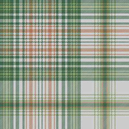 Green gold check plaid seamless fabric texture. Vector illustration.