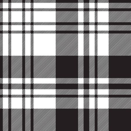 Fabric texture diagonal black white plaid seamless pattern. Vector illustration.