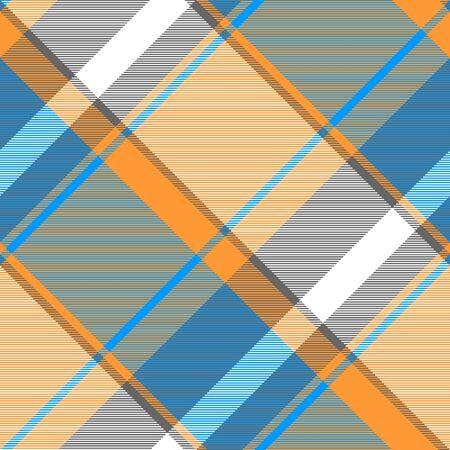 Orange blue modern plaid seamless fabric texture. Vector illustration.