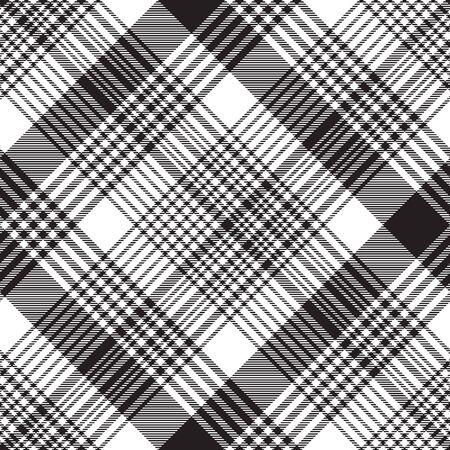 Checkered plaid black white seamless pattern. Vector illustration.