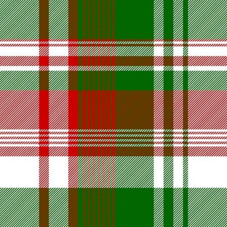 Green red bright check fabric texture seamless pattern. Vector illustration. Ilustrace
