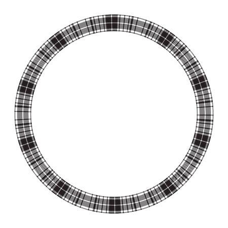 Round frame vector vintage pattern design template. Circle border designs plaid fabric texture. Scottish tartan background for collage art, gif card, handmade crafts. Standard-Bild - 134849032