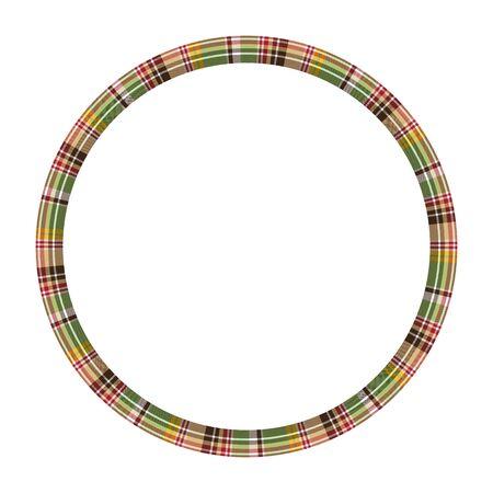 Round frame vector vintage pattern design template. Circle border designs plaid fabric texture. Scottish tartan background for collage art, gif card, handmade crafts. Standard-Bild - 134849043