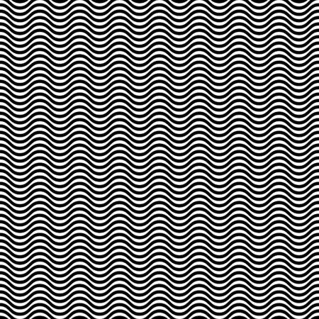 Hypnotic waves black white seamless pattern. Vector background. Vektorové ilustrace