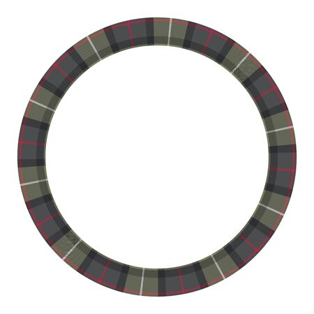 Round frame vector vintage pattern design template. Circle border designs plaid fabric texture. Scottish tartan background for collage art, gif card, handmade crafts. Stock Illustratie