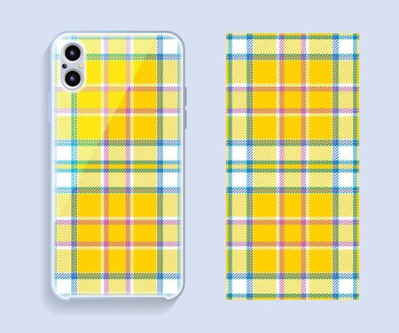 Smartphone cover design vector mockup. Template geometric pattern for mobile phone back part. Flat design.