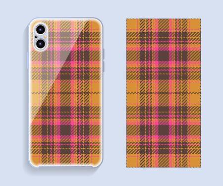 Smartphone cover design vector mockup. Template geometric pattern for mobile phone back part. Flat design.