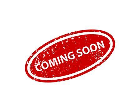 Coming soon sign sticker. Stamp vector texture Ilustração