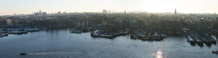 AMSTERDAM, NETHERLANDS - top view of the city panorama