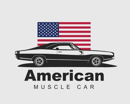 American muscle car vector. Supercar garage logo template. Old auto silhouette label for web or print.
