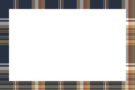 Rectangle frame vector vintage pattern design template. Border designs plaid fabric texture. Scottish tartan background for collage art, gif card, handmade crafts.