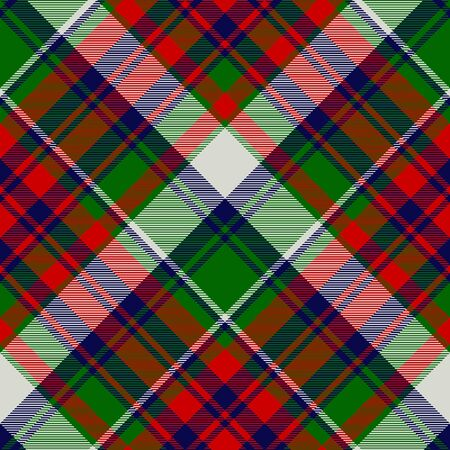 Tartan green red fabric texture seamless pattern. Vector illustration.