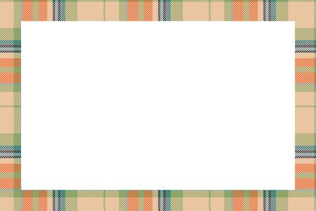 Vintage frame vector. Scottish border pattern retro style. Beauty empty background, template for photo, portrait, album. Tartan plaid ornament.  イラスト・ベクター素材