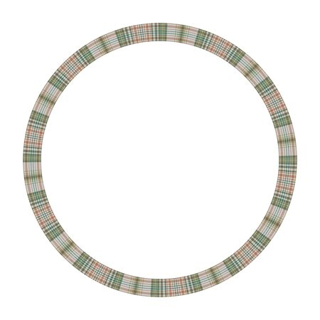 Round frame vector vintage pattern design template. Circle border designs plaid fabric texture. Scottish tartan background for collage art, gif card, handmade crafts.  イラスト・ベクター素材