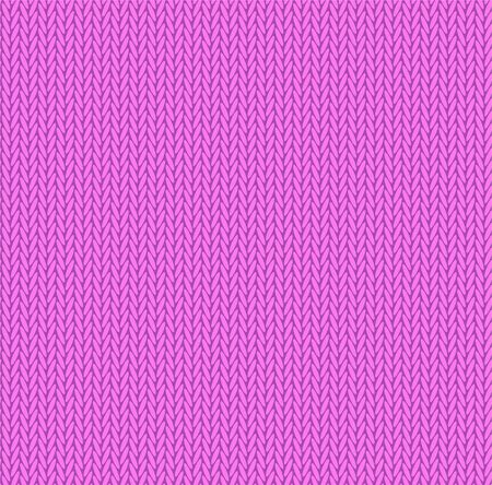Knit texture bright pink color. Vector seamless pattern fabric. Knitting background flat design.