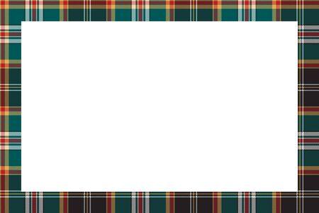 Rectangle frame vector vintage pattern design template. Border designs plaid fabric texture. Scottish tartan background for collage art, gif card, handmade crafts. 向量圖像