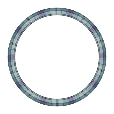 Round frame vector vintage pattern design template. Circle border designs plaid fabric texture. Scottish tartan background for collage art, gif card, handmade crafts. 向量圖像