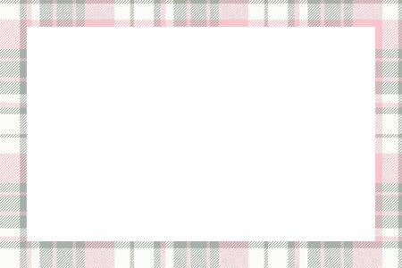 Vintage frame vector. Scottish border pattern retro style. Beauty empty background, template for photo, portrait, album. Tartan plaid ornament. Banque d'images - 140169553