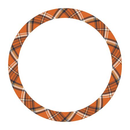 Round border pattern geometric vintage frame design. Scottish tartan plaid fabric texture. Template for gift card, collage, scrapbook or photo album and portrait. Banque d'images - 143742071