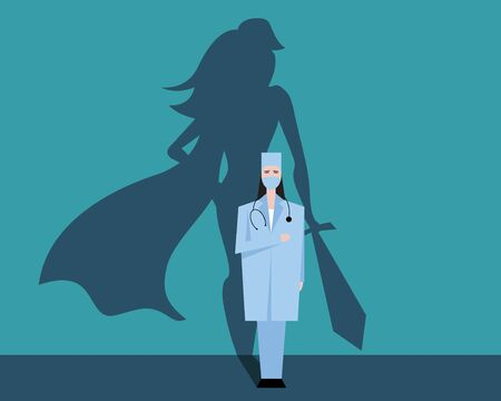 Super woman doctor or nurse. Hospitals superhero fighting for life. Thank you medical personal for work.