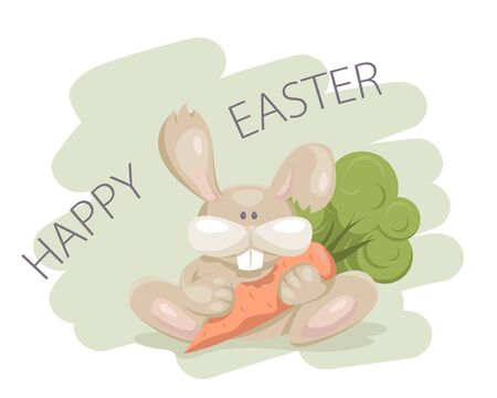 Happy Easter greeting card with a bunny. Vector illustration.