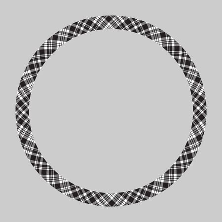 Circle borders and frames vector. Round border pattern geometric vintage frame design. Scottish tartan plaid fabric texture. Template for gift card, collage, scrapbook or photo album and portrait. Banque d'images - 143844438