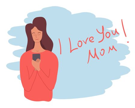 Mother receives a call from her child who says I love you mom. Template for postcard or blog. Vector illustration. Ilustração