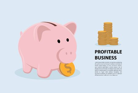 Concept piggy bank symbol profitable business. Vector illustration flat design.