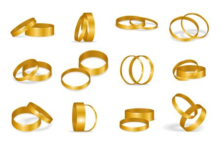 Set of wedding golden rings isolated on a white background. Realistic design gold ring with shadows. Element for greeting card. Vector illustration.