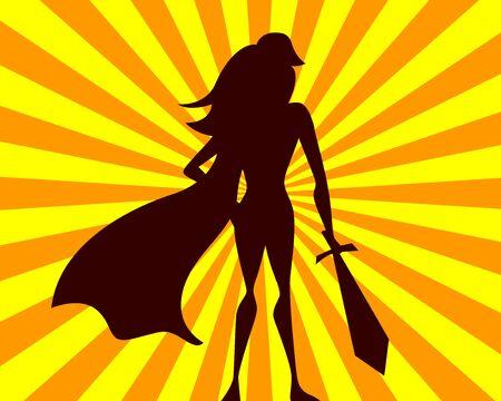 Super woman vector illustration. Comics superhero girl with sword. Hero silhouette on rays background. Illusztráció