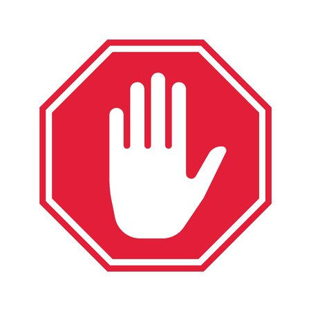 Hand Stop Icon. Vector Prohibition Sign. Simple ui design.