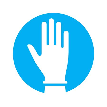 Hand in glove icon symbol of the fight against coronavirus. Vector illustration. Ilustração