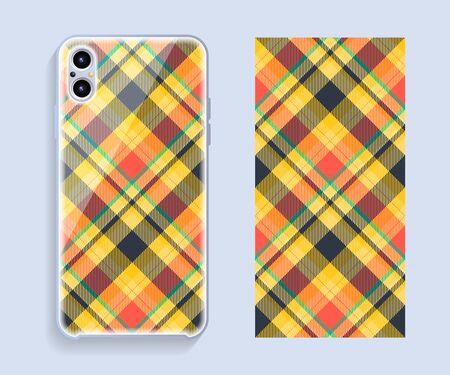 Mobile phone cover design. Template smartphone case vector pattern. Çizim