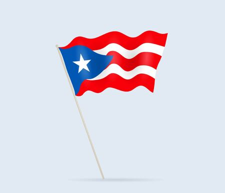 Puerto Rico flag on flagpole waving in the wind. Vector illustration.