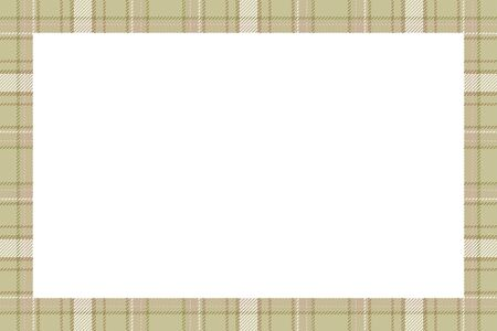 Vintage frame vector. Scottish border pattern retro style. Beauty empty background, template for photo, portrait, album. Tartan plaid ornament. Banque d'images - 150105885