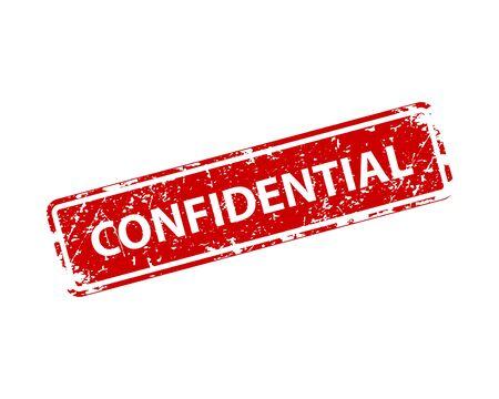 Confidential sign sticker. Stamp vector texture