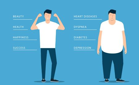 The benefits of a healthy lifestyle over obesity on the example of a fat and athletic young man. Vector illustration Stock Illustratie