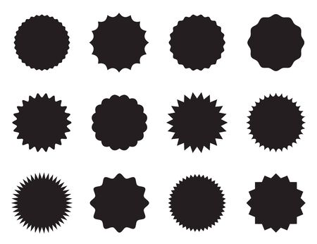 Set of round stickers with different edges black and white design. Vector illustration