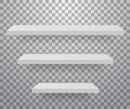 Set of white different furniture shelves. Vector illustration