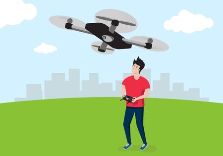 A young man in a red T-shirt controls a quadrocopter or drone. Vector illustration. Vectores