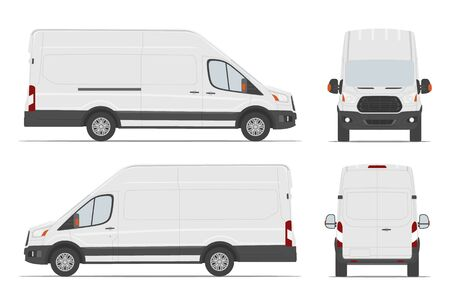 White cargo van car template in different angles. Vector illustration.