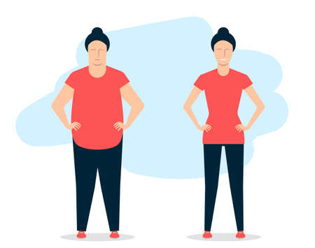 Young woman before and after fitness. A fat girl is able to lose weight. Vector illustration Vettoriali