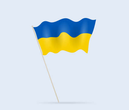 Ukraine flag on flagpole waving in the wind. Vector illustration. Vectores