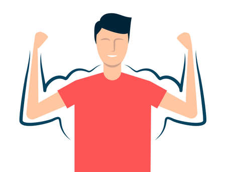 A thin guy is able to build muscle by doing in the gym or workout. Vector illustration Ilustrace