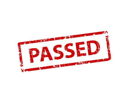 Passed sign sticker. Stamp vector texture